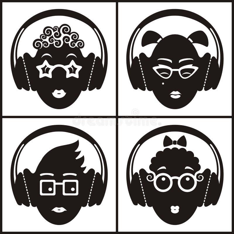 Musikaliska sinnesrörelser stock illustrationer