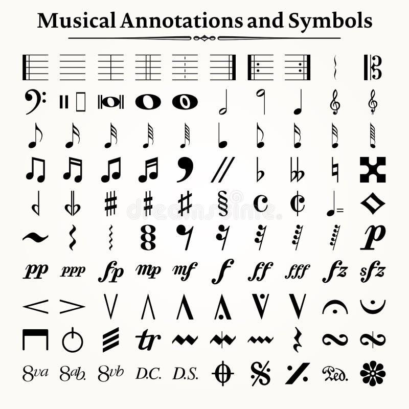 Musikaliska symboler och anteckningar stock illustrationer