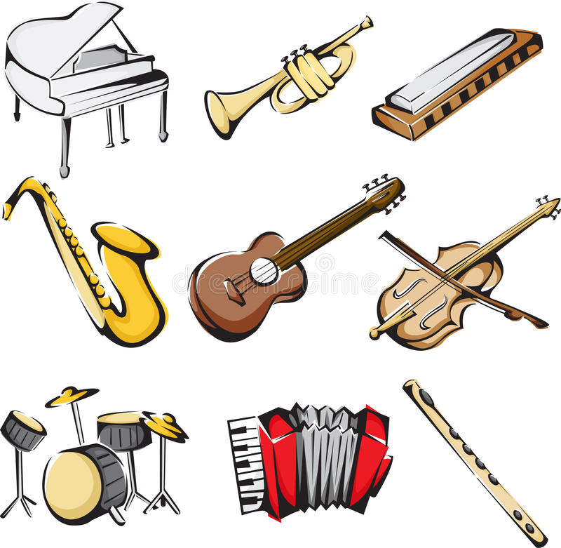 musikaliska symbolsinstrument vektor illustrationer