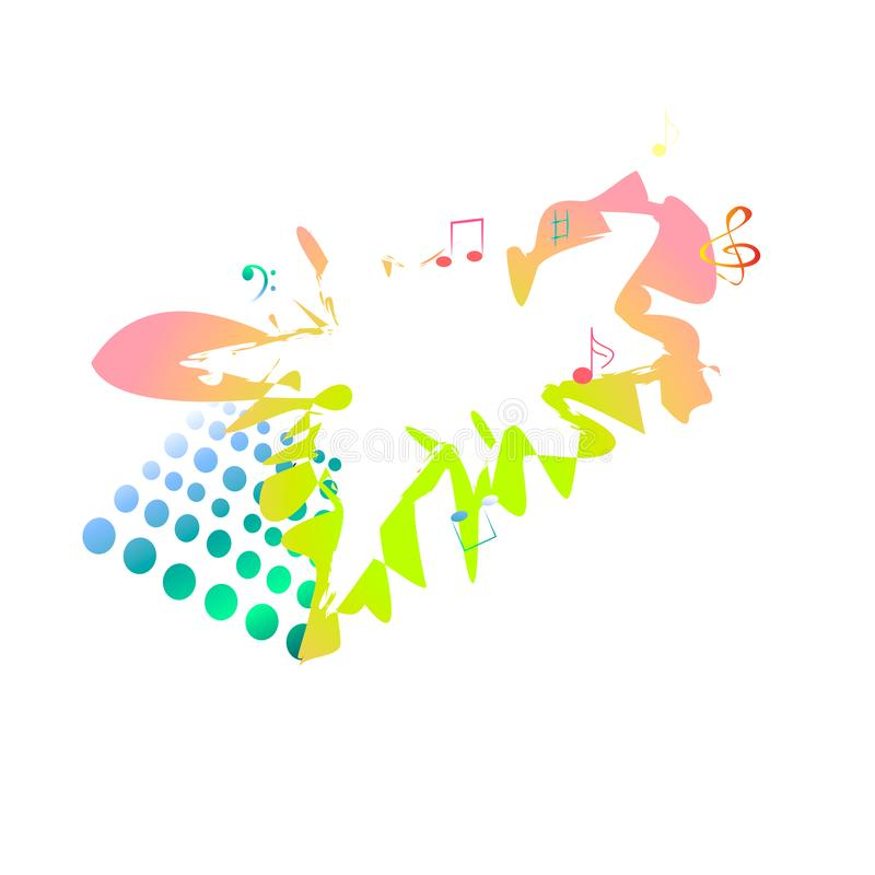 Musikaliskt baner som är mångfärgat med anmärkningar vektor illustrationer
