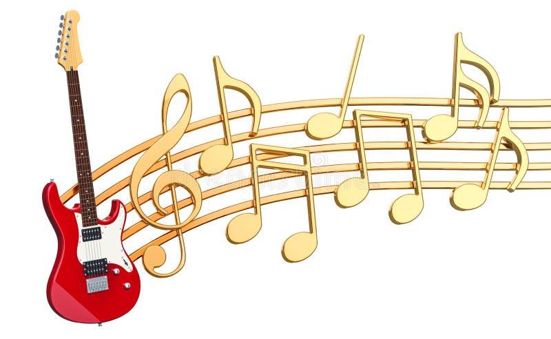 Musikaliskt begrepp Elektrisk gitarr med musikanmärkningar, tolkning 3d vektor illustrationer