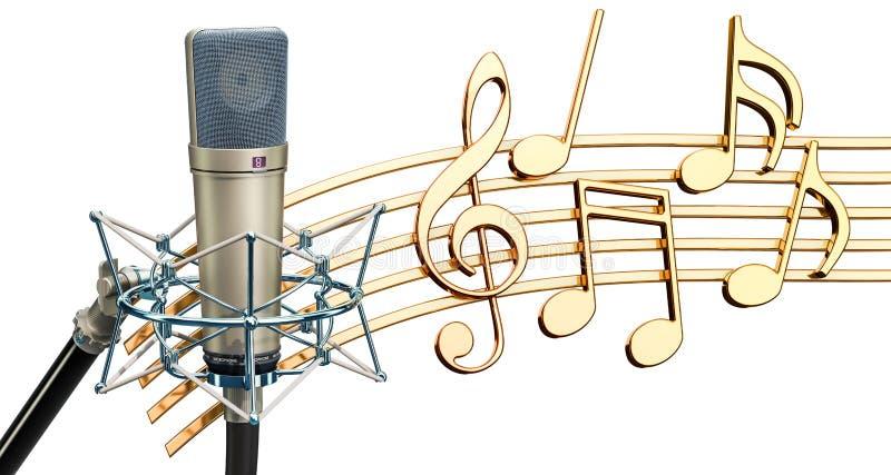 Musikaliskt begrepp Studiomikrofon med musikanmärkningar, renderin 3d vektor illustrationer