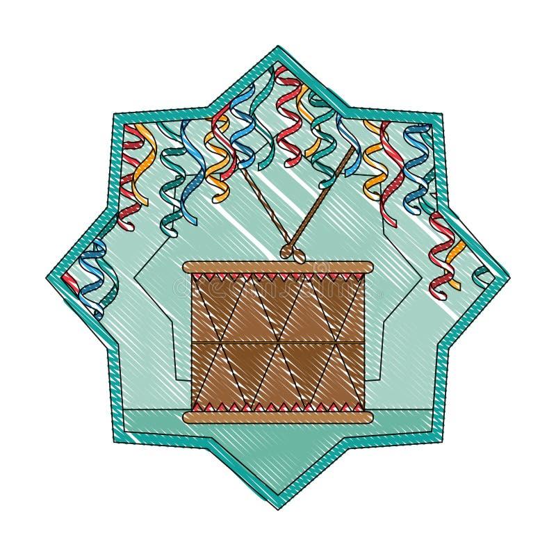 Musikaliskt objekt för klotterträvals inom stjärnan royaltyfri illustrationer