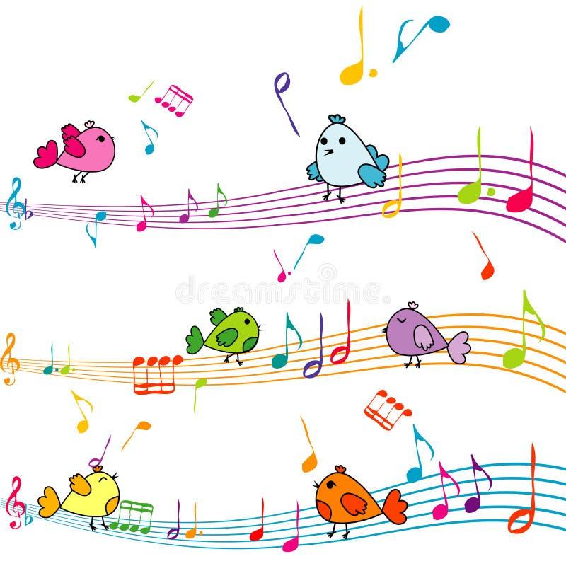 Musikanmärkning med att sjunga för tecknad filmfåglar vektor illustrationer