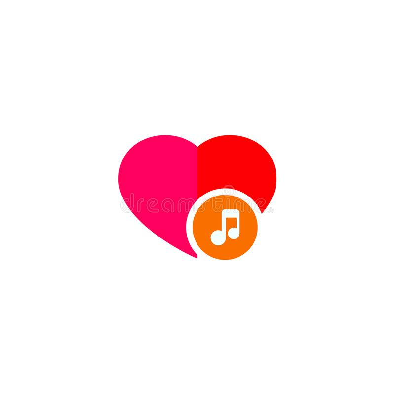 Musikanmärkning med förälskelse stock illustrationer