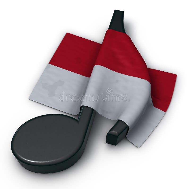 Musikanmärkning och flagga av Monaco royaltyfri illustrationer