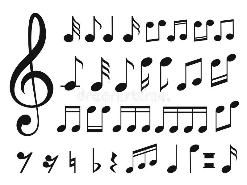 Musikanmärkningar med vågor royaltyfri illustrationer