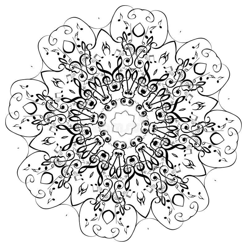 Musikanmärkningar rundar den blom- prydnaden stock illustrationer