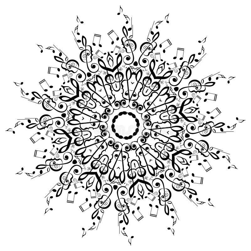 Musikanmärkningar rundar den blom- prydnaden royaltyfri illustrationer