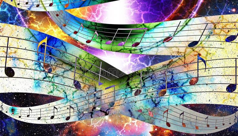 Musikanmärknings- och konturmusikhögtalare och utrymme med stjärnor abstrakt bakgrundsfärg för gitarrillustration för begrepp ele royaltyfri illustrationer