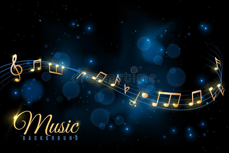 Musikanmärkningsaffisch Musikalisk bakgrund, virvla runt för musikaliska anmärkningar Jazzalbum, klassiskt symfonikonsertmeddelan stock illustrationer