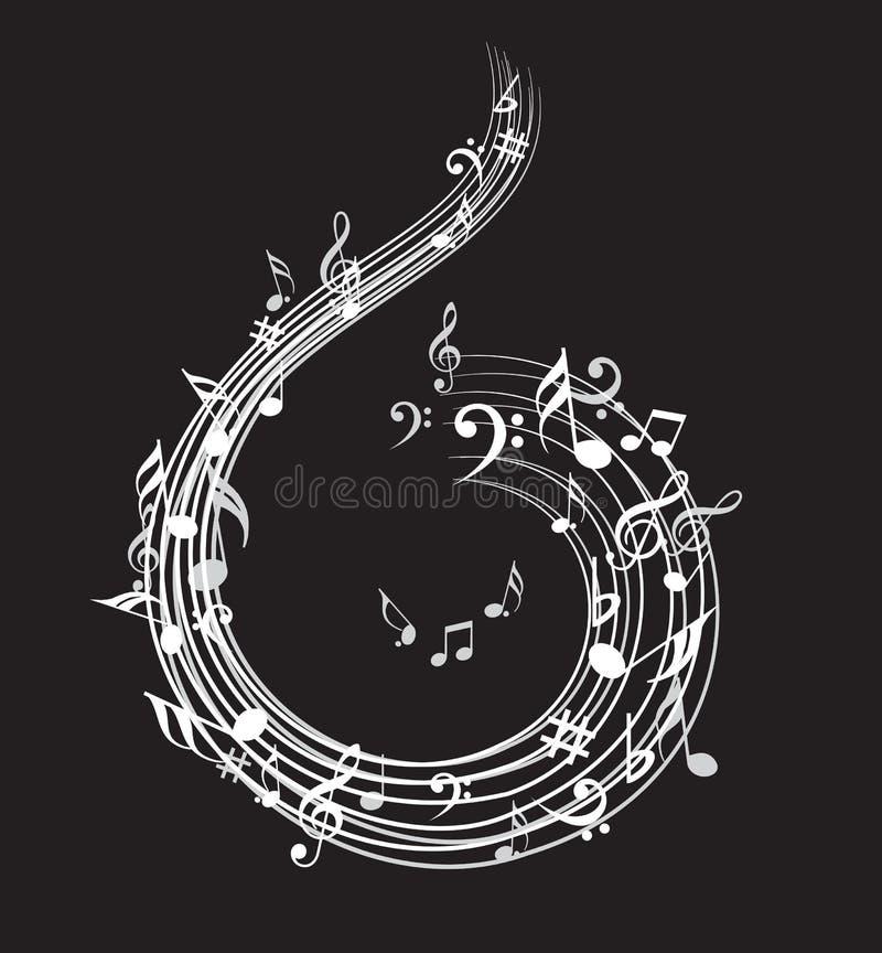 Musikanmärkningsbakgrund med symboler vektor illustrationer