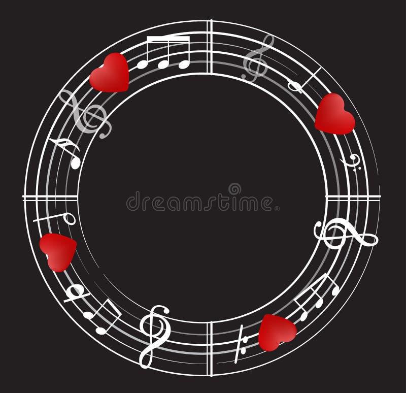 Musikanmärkningsbakgrund med symboler royaltyfri illustrationer