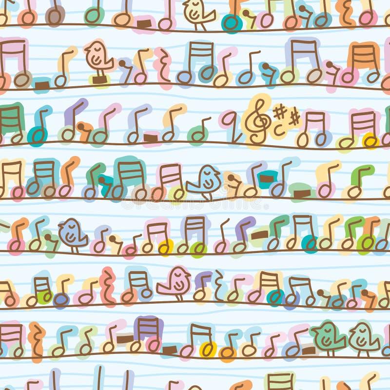 Musikanmärkningsfågeln går linjen sömlös modell vektor illustrationer