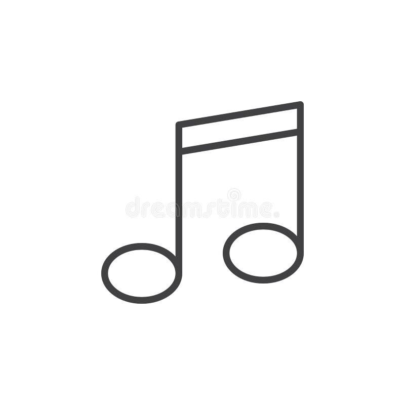 Musikanmärkningslinje symbol, översiktsvektortecken, linjär stilpictogram som isoleras på vit vektor illustrationer