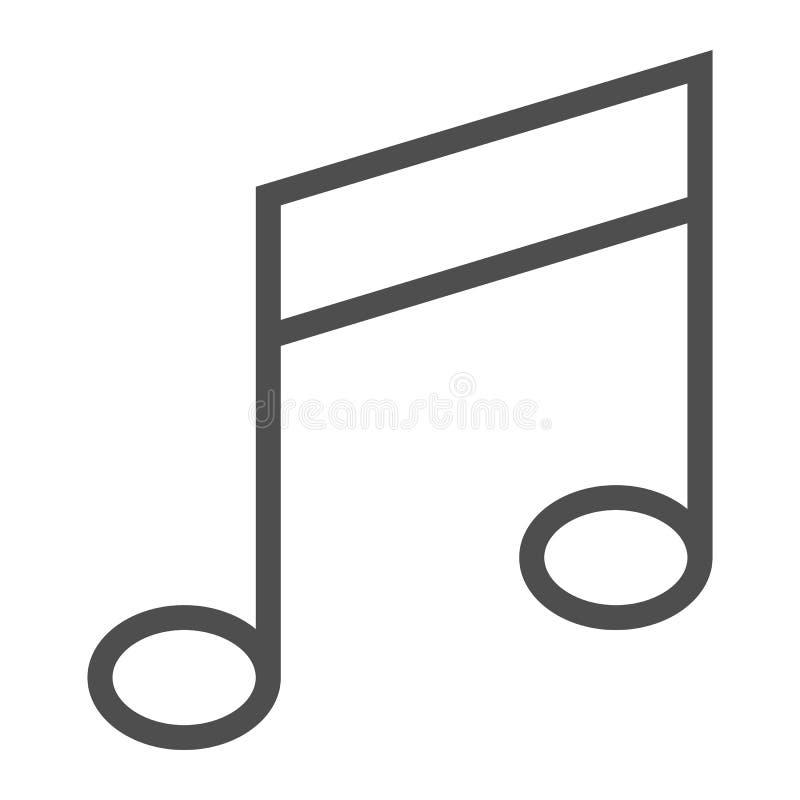 Musikanmärkningslinje symbol, musikal och ljud, meloditecken, vektordiagram, en linjär modell på en vit bakgrund vektor illustrationer