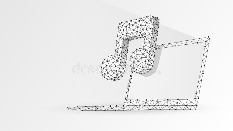 Musikanmärkningssymbol på bärbar datorskärmen Polygonal internetljud, datorspelarebegrepp Abstrakt digitalt, wireframebottenläge vektor illustrationer