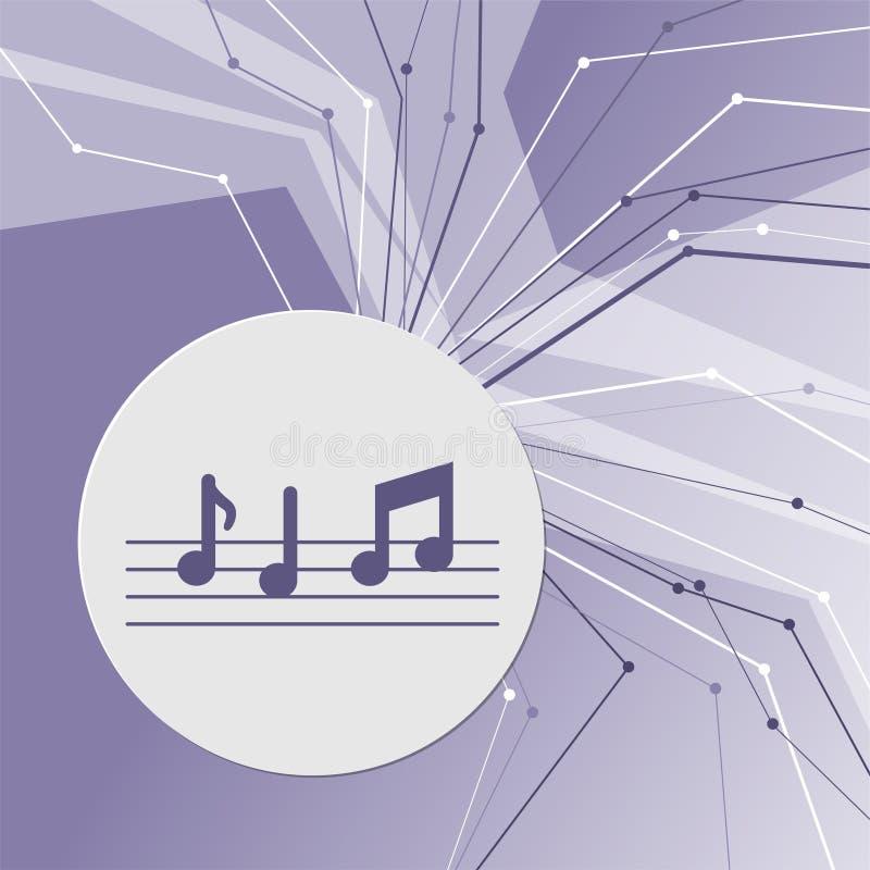 Musikanmärkningssymbol på modern bakgrund för lilaabstrakt begrepp Linjerna sammanlagt riktningar Med rum för din advertizing stock illustrationer
