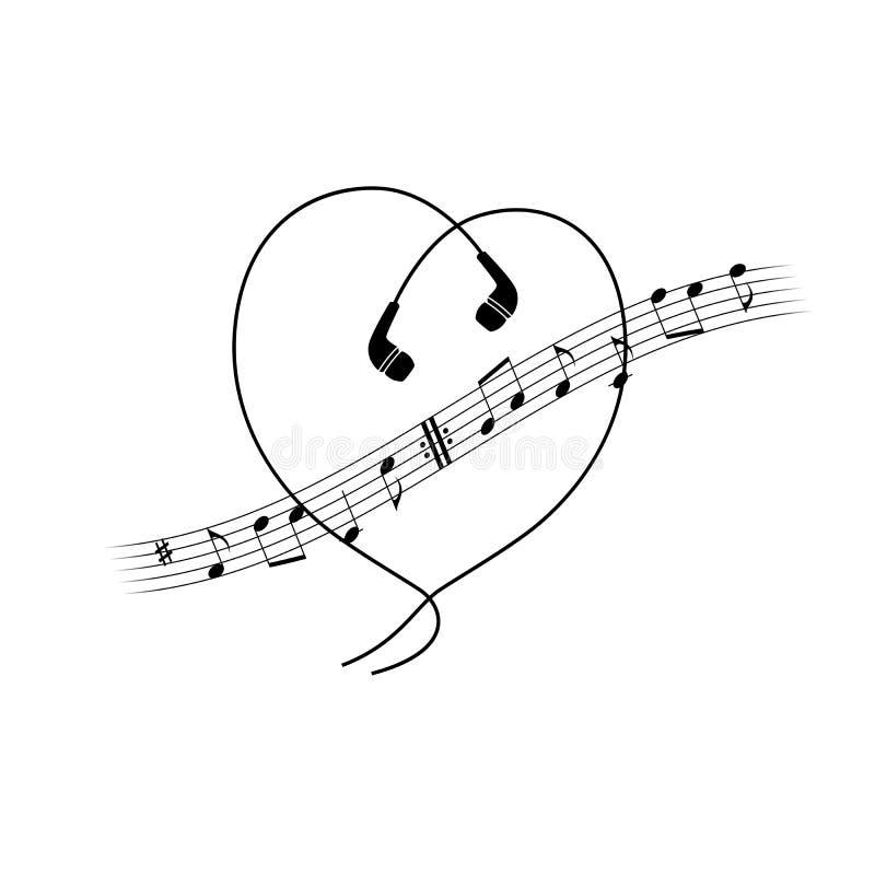 Musikanmärkningsvåg med hörlurar i hjärtaform Vektort-skjorta eller affischdesign vektor illustrationer