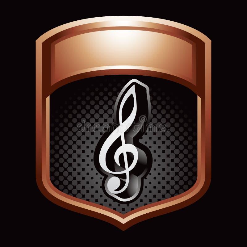 Musikanmerkung über Bronzebildschirmanzeige stock abbildung
