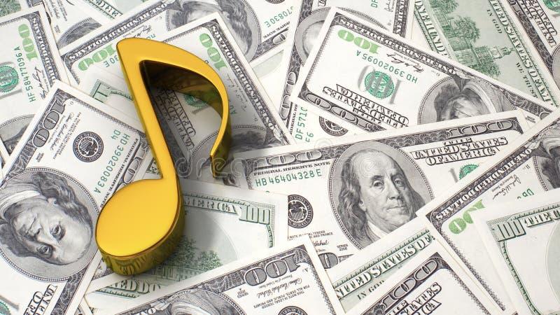 Musikanmerkung über den Dollarhintergrund lizenzfreie abbildung