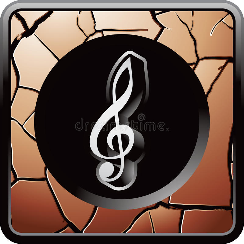 Musikanmerkung über gebrochene Bronzeweb-Taste stock abbildung