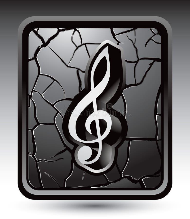 Musikanmerkung über gebrochene silberne Web-Taste stock abbildung
