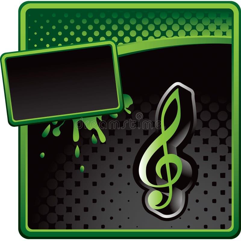 Musikanmerkung über grüne und schwarze Halbtonanzeige vektor abbildung
