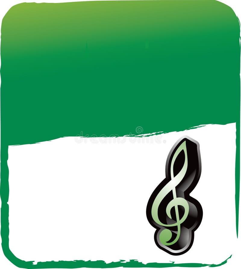 Musikanmerkung über grünen grungy Hintergrund lizenzfreie abbildung