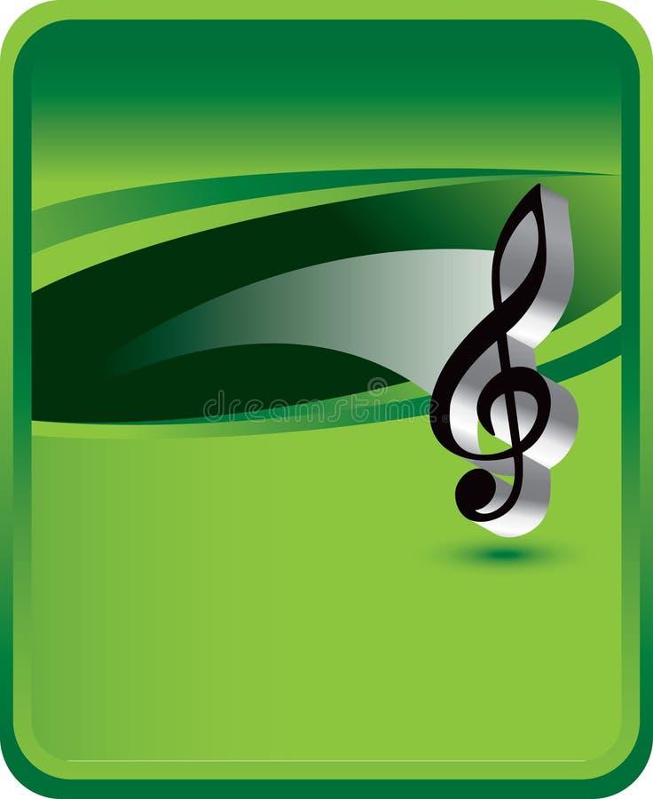 Musikanmerkung über grünen Hintergrund lizenzfreie abbildung