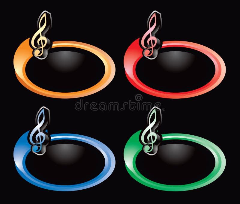 Musikanmerkung über mehrfarbige Ringe lizenzfreie abbildung