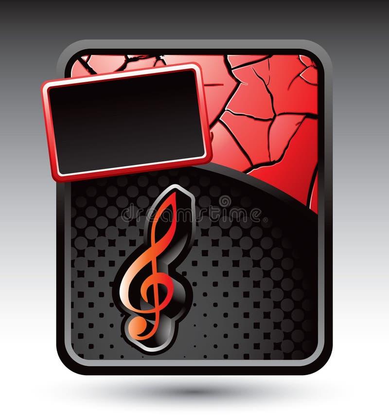 Musikanmerkung über rote gebrochene Reklameanzeige stock abbildung