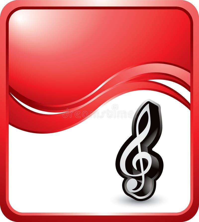 Musikanmerkung über roten Wellenhintergrund lizenzfreie abbildung