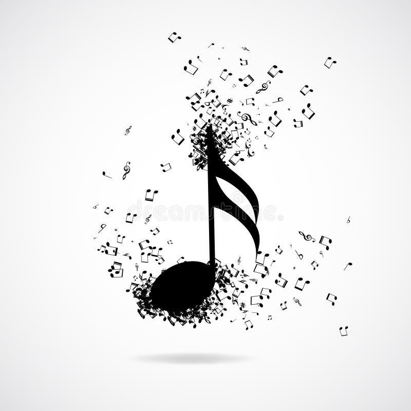 Musikanmerkung mit Explosionseffekt lizenzfreie abbildung