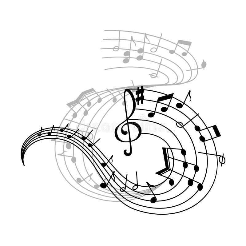 Musikanmerkung und -Violinschlüssel auf wirbelnder Daubenikone stock abbildung