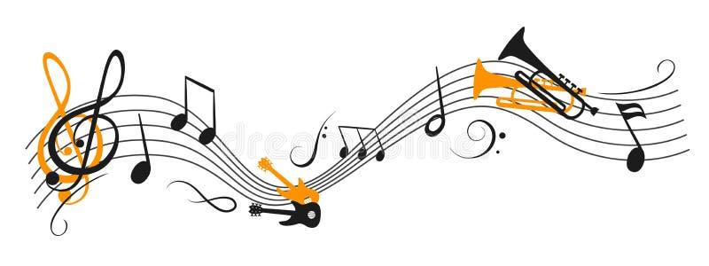 """Musikanmerkungen bewegen wellenartig, gruppieren musikalische Anmerkungen mit ein Musikinstrument †""""Vektor stock abbildung"""