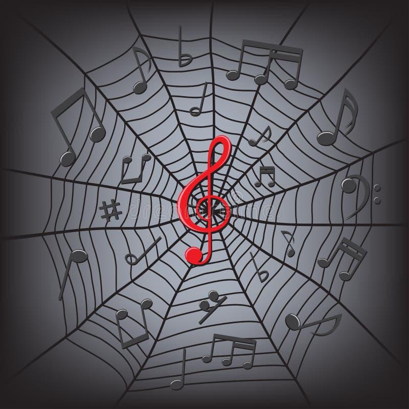 Musikanmerkungen im Spinnenweb vektor abbildung