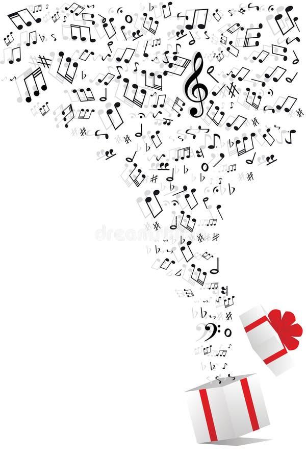 Musikanmerkungen und Geschenkkasten stock abbildung