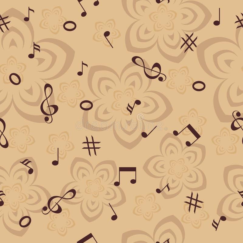 Musikanmerkungen und nahtloser Hintergrund der Blumen stockfoto
