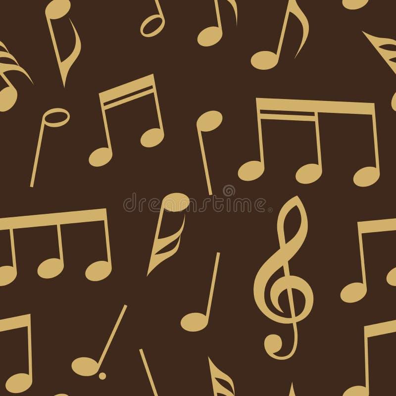 Musikanmerkungen und nahtloses Musterdesign der Symbole Völlig editable Fülle- und Hintergrundfarbe stock abbildung