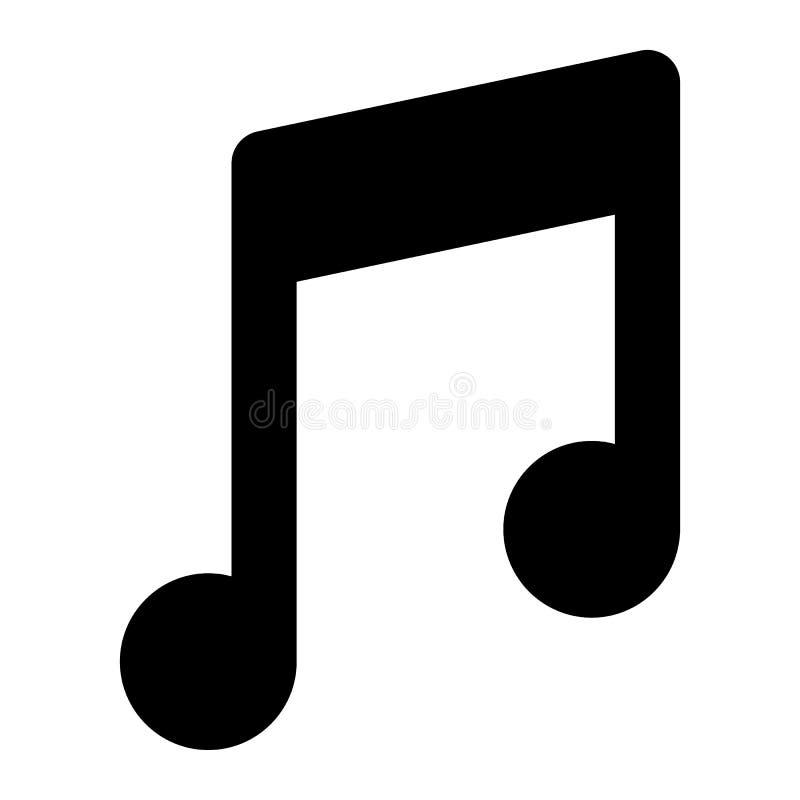 Musikanmerkungs-Körperikone Melodienvektorillustration lokalisiert auf Weiß Solides Glyphartdesign, bestimmt für Netz und APP stock abbildung