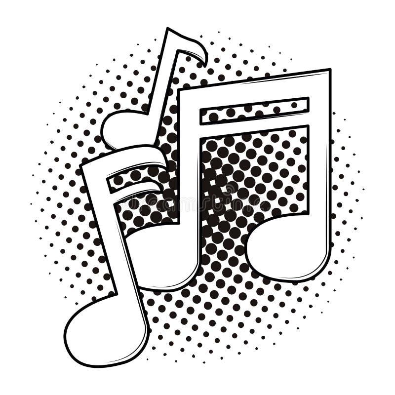 Musikanmerkungs-Karikaturpop-art Schwarzweiss stock abbildung