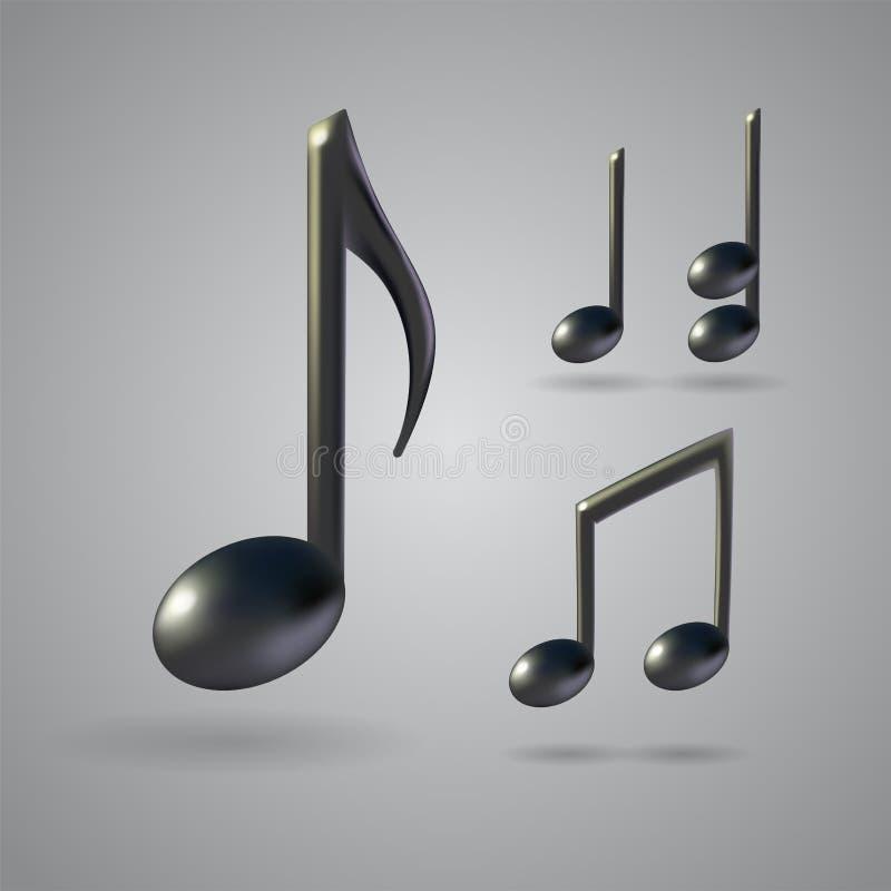 Musikanmerkungs-Vektorikonen vektor abbildung