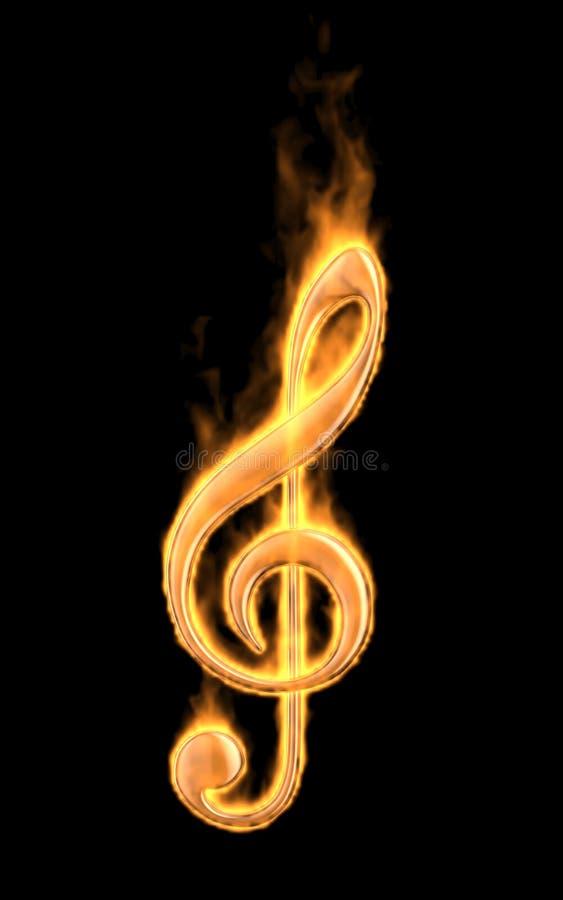 Musikanmerkungsbrand im Feuer. Ikone 3D lokalisiert lizenzfreie abbildung