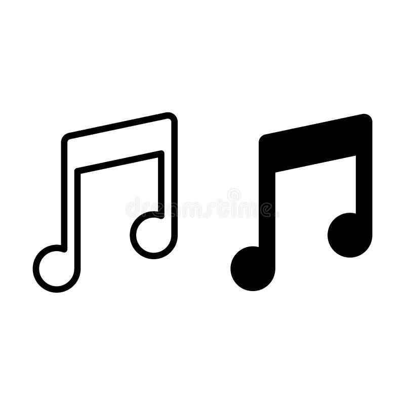 Musikanmerkungslinie und Glyphikone Melodienvektorillustration lokalisiert auf Weiß Solider Entwurfsartentwurf, entworfen für stock abbildung