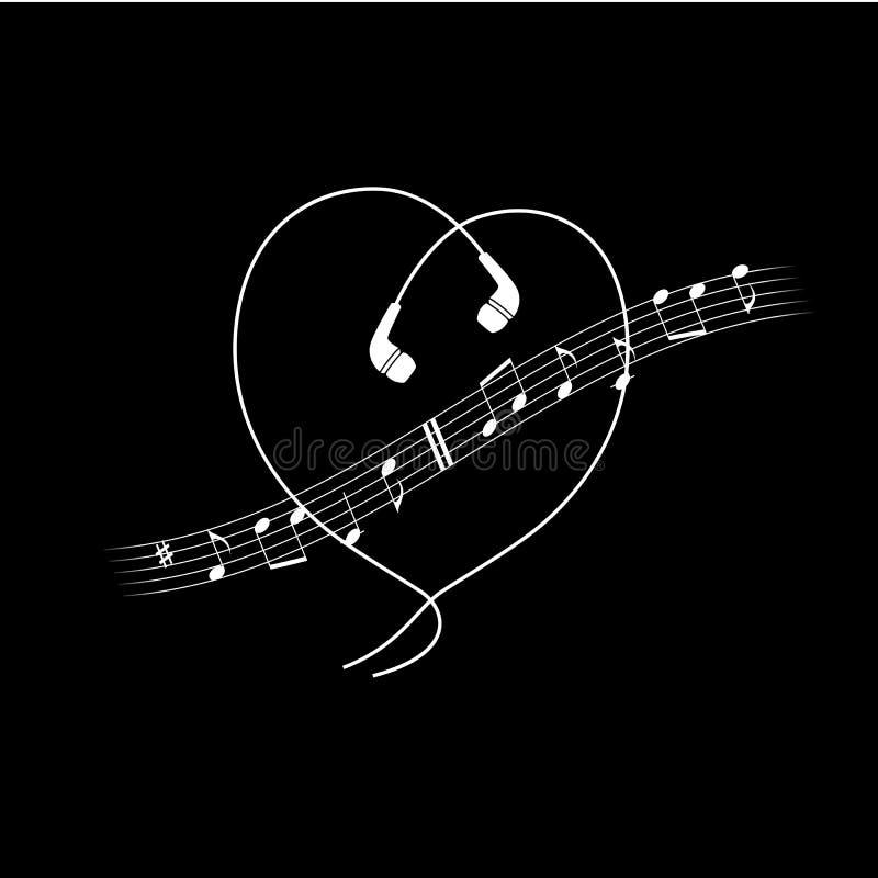 Musikanmerkungswelle mit Kopfhörern in der Herzform Vektorweiß auf schwarzem T-Shirt oder Plakatdesign stock abbildung