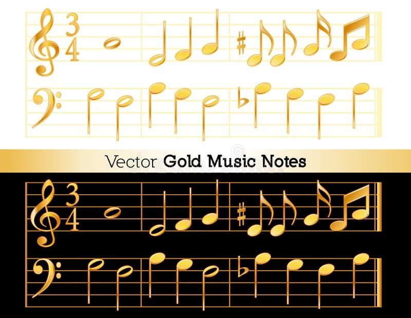 Musikanteckningar, guld på vit och svart bakgrund stock illustrationer