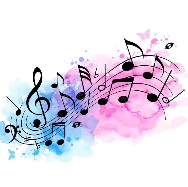Musikbakgrund med anmärkningar och vattenfärgtextur royaltyfri illustrationer