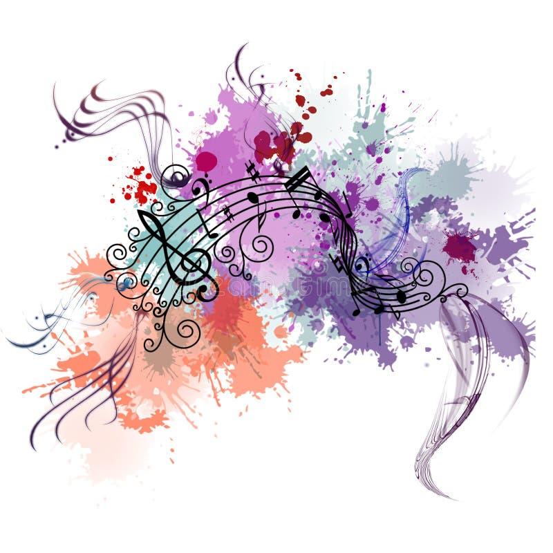 Musikbakgrund med färg stock illustrationer