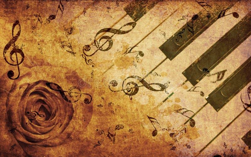 Musikbakgrund med rose och anmärkningar vektor illustrationer
